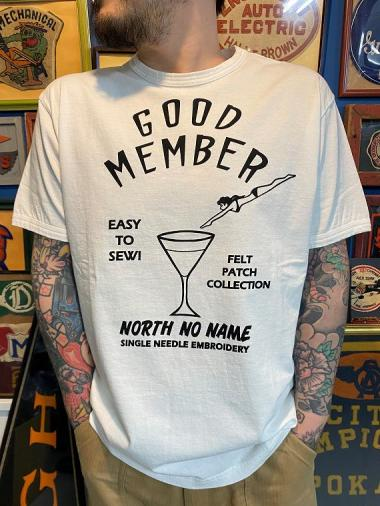 NORTH NO NAME / PATCH DESIGN PRINT T-SH (WHT×BLK)