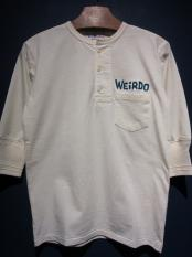 WEIRDO DAILY -  H/S  HENRY NECK T-SHIRTS (WHITE)