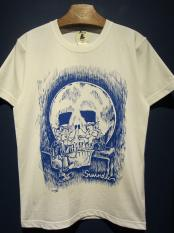 "EDWARD LOW ""WOLF MIRROR"" TEE (WHT×BLUE)"