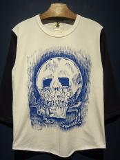 "EDWARD LOW ""WOLF MIRROR""七分袖T (WHT×NAVY)"