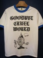 "Vinny×EDWARD LOW ""CRUEL"" Ringer T(WHITE×BLUE)"
