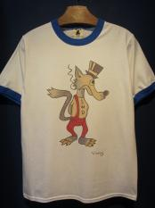 "Vinny×EDWARD LOW ""Wolf's tail"" Ringer T(WHT×BLUE)"