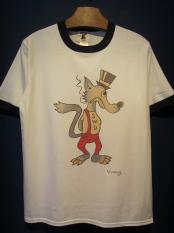 "Vinny×EDWARD LOW ""Wolf's tail"" Ringer T(WHT×NAVY)"