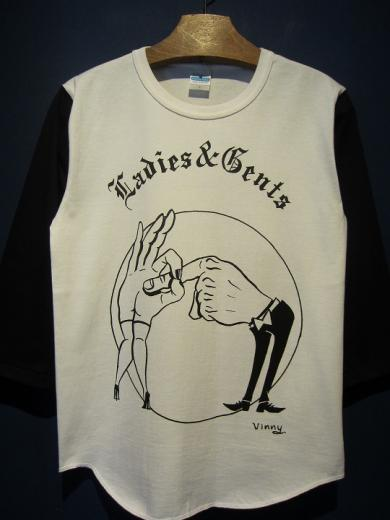 "Vinny ""Ladies & Gents"" 七分T (WHT×NAVY)"