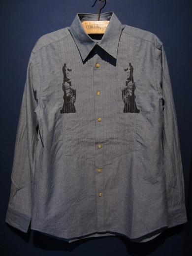 GAVIAL / pin tuck chambray shirts  (indigo)
