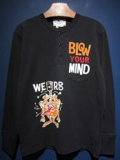WEIRDO  LOVER RIDE - L/S HENRY  T-SHIRTS (BLACK)